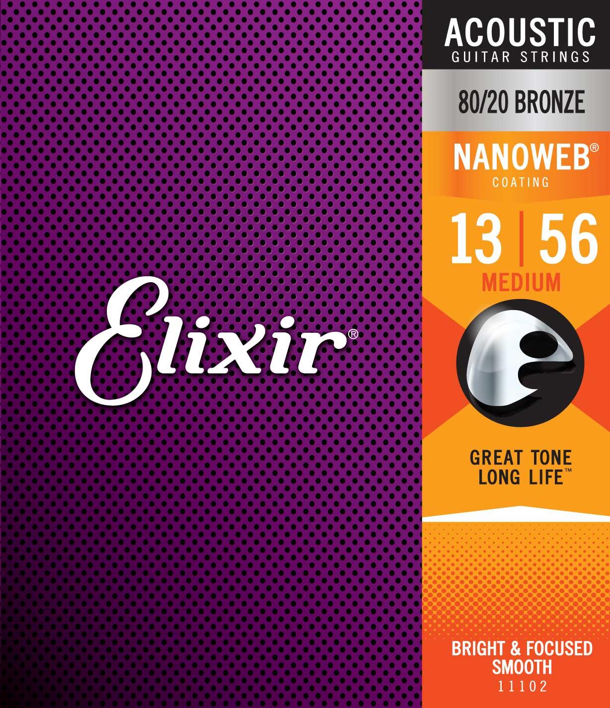 ELIXIR 11102 ACOUSTIC 80/20 BRONZE NANOWEB